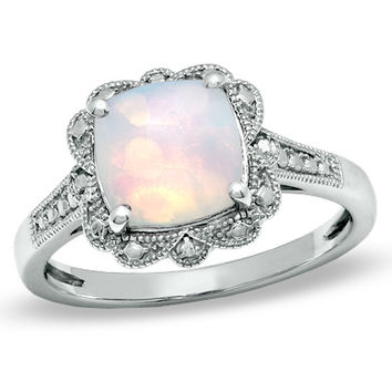 8.0mm Cushion-Cut Lab-Created Opal Vintage-Style Ring in Sterling Silver - Size 7