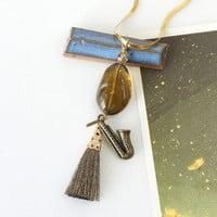 Saxophone Jewelry with Golden Brown Whisky Quartz Gemstone and Tassel Pendant, Jazz Musician Necklace
