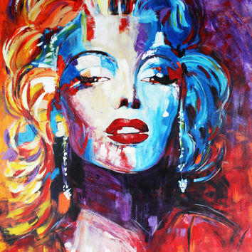 "ART Marilyn Monroe Portrait Acrylic painting on Canvas Modern Contemporary 40""x60"" ORIGINAL Ready to Hang By Kathleen Artist PRO"