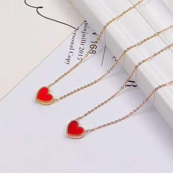 Four-leaf Clover Classic Heart Love Necklace