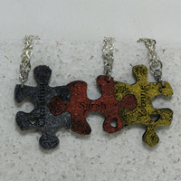 Puzzle Pieces 3 piece Personalized Leather Necklace Set Forever my best friends
