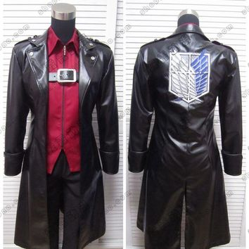 Cool Attack on Titan Anime!  no  Levi Eren dom Wings Leather Cospaly Jacket Trench   AT_90_11