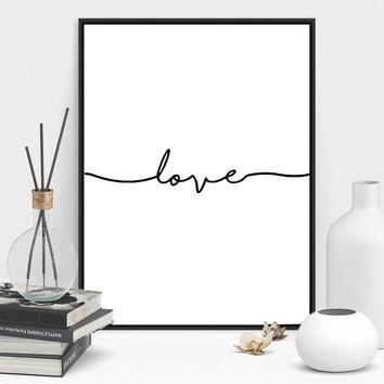Love Line Art Black and White Poster Modern Home Wall Decor Painting Canvas Printing Art HD Print Painting