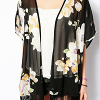 Black Floral Fringed Kimono Cover-up