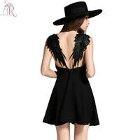 2 Colors Feather Spaghetti Strap Backless Mini Skater Dress Sleeveless Casual Sexy Clubwear Party Dresses 2016 Summer Women