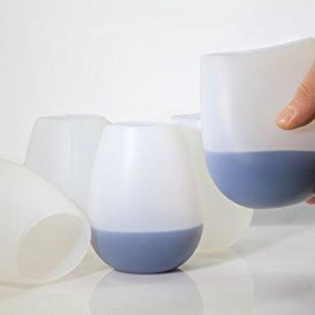 Creative Chef Shop Creative Chef Shop Food Grade Silicone Wine Glasses | Set Of 5 Shatterproof Rubber Cups | 100 BPAFree amp EcoFriendly | Suitable For Any Beverage 5 Pack Clear