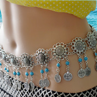 Gypsy Hollow Flower Silver Fashion Waist Chain Women Sexy Belly Chain Resin Bead Coin Tassel Beachy Tribal Body Jewelry