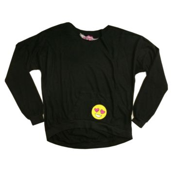 So Nikki Girl's L/S Emoji Raglan Black