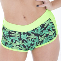 Marijuana Print Gym Fashion Shorts By Sassy Assy