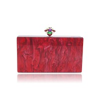 Bee Red Pearl Acrylic Box Clutch