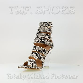 "Kenya Open Strap White Snake Clear Wedge 4"" High Heel Ankle Boot Shoe 7 - 11"