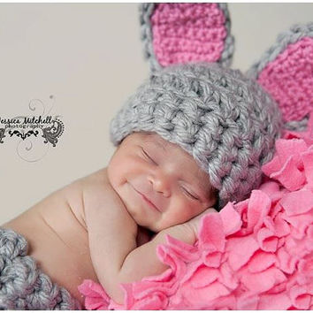 READY to SHIP Baby Crochet Bunny Easter Set Spring Hat and Diaper Cover Set Photography Prop -Treasured Little Creations