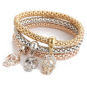 Gift Great Deal Shiny Awesome New Arrival Hot Sale Stylish Skull Crystal Diamonds Pendant 3-color Stretch Bracelet [7984419974]