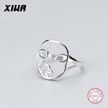 XIHA Real 925 Sterling Silver Rings for Women Simple Hollow Out Face Shape Punk Ring Vintage Jewelry Dropshipping Cool Pieces