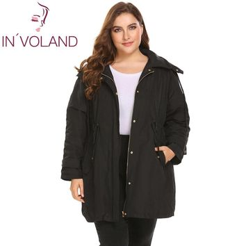 Trendy IN'VOLAND Plus Size L-4XL Women Warm Jacket 2018 Winter Spring Puffer Casual Removable Hooded Thickened Large Coat Oversized AT_94_13