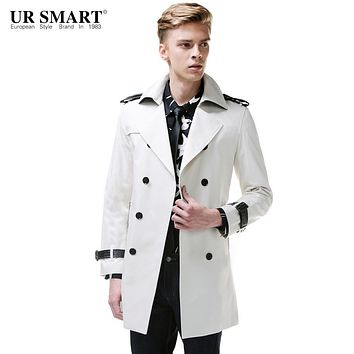 URSMART New arrival double-breasted men's windbreaker long cotton in rice white male trench coat