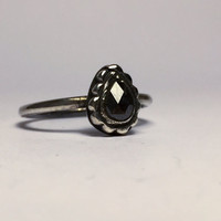 Black Diamond Ring; engagement ring; wedding ring; salt and pepper diamond; diamond ring; sterling silver ring; bohemian jewelry; handmade