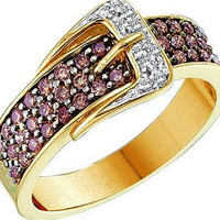 Cognac Diamond Fashion Ring in 14k Gold 0.5 ctw