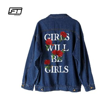 Fitaylor 2017 Autumn Vintage Denim Jacket Fashion Casual Letter Print Rose Embroidery Turn-down Collar Long Sleeve Loose Coat