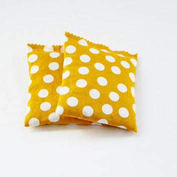 Botanical Sachets, Mustard Yellow with White Polka Dots, Natural Home Fragrance