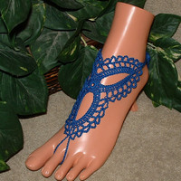 Crochet Royal Blue Vintage Barefoot Sandals, Wedding Bridal Shoes Accessories, Footless, Bottomless, Trinity, Anklet, Bracelet Rings