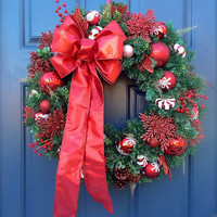 Red White Christmas Evergreen Wreath Red Bow Holiday Wreaths Red Door Decor