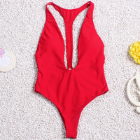 One Piece Swimsuit Women Backless Bodysuit 2016 Sexy High Cut Swimwear Bathing Suit Swim Beachwear Monokini Swimsuit Red