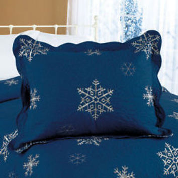 (1) Navy Blue Embroidered Snowflake Pillow Sham Christmas Bedroom Home Decor