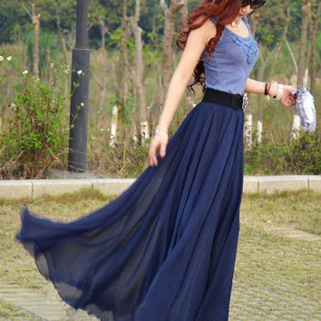 women's navy blue silk Chiffon 8 meters of skirt circumference long dress maxi skirt maxi dress  XS-L