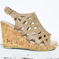 Open Toe Cork Wedge Shoe