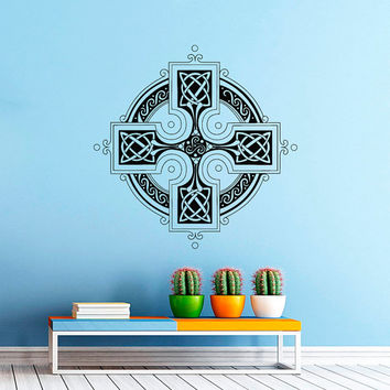Celtic Cross Wall Decal- Antique Celtic Cross Wall Decals Vinyl Stickers- Irish Wall Cross Decor Living Room Bedroom Dorm Home Decor Z815