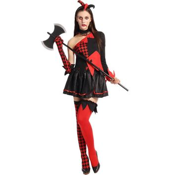 Sexy Women Mini Dress Role Play Vampire Cosplay Costume Zombie Halloween Costume Red Dress Off One Shoulder W5389252
