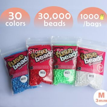free shipping 30,000 beads 30 colors 3mm mini hama beads 1 pegboard 1000pcs/bag/color artkal beads educational toys