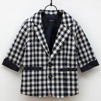 Fashion Newborn Kids Boys Jacket Coat Cool Style Plaid Check Dots Blazer Spring Outerwear New