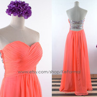 Light Peach Strapless Long Prom Dresses, Sweetheart Chiffon Formal Gown, Long Chiffon with Sequin Party Dresses