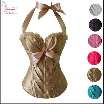 Women's Fashion Satin Classic Halter Sweetheart Basque Overbust Corset = 1715739268