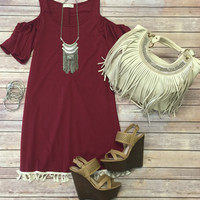 Bo Peep Tassel Dress: burgundy