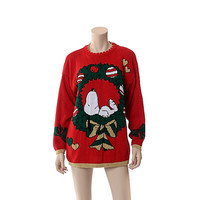 Vintage 80s Peanuts Snoopy Christmas Sweater 1980s X-Mas Wreath Novelty Ugly Party Knit Jumper / Large to X-Large