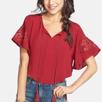 Chloe K Applique Cropped Peasant Top (Juniors)
