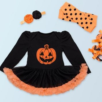 1 st Girl Bodysuits Baby Baptism Dress Birthday Dress Halloween Pumpkin Kid Clothing Tutu Full Sleeve baby christmas outfits