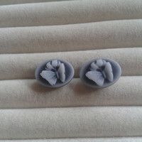 Closing sale - grey butterfly  cameo post stud  earrings