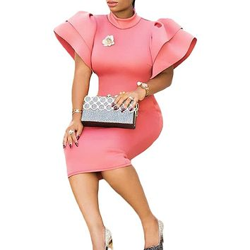 Plus Size Woman Pink Long Butterfly Sleeve Side Zipper Bodycon Dress Sexy Night Party Wear Key Hole Back Ruffles Midi Dresses