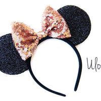 Gold Mickey Ears, Sparkly Mickey Ears, Rose Gold Minnie Ears, Minnie Ears, Rose Gold Mickey Ears, Gold Minnie Ears, Disney Ears, Sparkle Ear