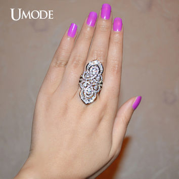 UMODE Vintage Style Gorgeous Crown Ring With Multi-shaped Cubic Zirconia White Gold Color Jewelry Ring UR0206
