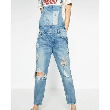 CREYCI7 Spring Women Ripped Denim Jumpsuit Light Blue Overall Elegant Pocket Plus Size Casual Ladies Bodysuit Rompers Washed XCJP612