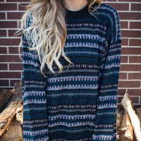Customizable Vintage Teal Multicolor 90s Oversized Studded Sweater