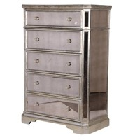 Venetian Mirrored 5 Drawer Chest | Mirrored Bedroom Furniture | French Style Furniture