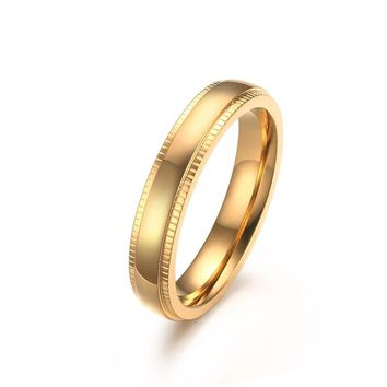 Yellow Gold Color Ring New Fashion Stainless Steel Simple Wedding Rings for Women Jewelry USA Size 6 to 11