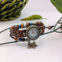 Ladies Girls Womens Vintage Handmade Braclet  Wrist  Watch (WAT0064)