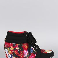 Canvas Floral High Top Wedge Sneaker